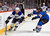Vladimir Sobotka #17 of the St. Louis Blues controls the puck while under pressure from Greg Zanon #4 of the Colorado Avalanche at the Pepsi Center on February 20, 2013 in Denver, Colorado.  (Photo by Doug Pensinger/Getty Images)