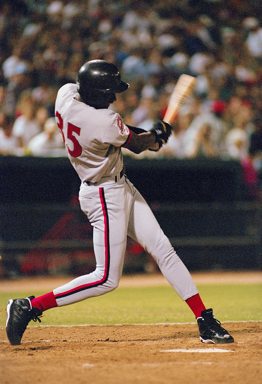 Description of . Michael Jordan, former basketball player, takes a cut while batting for the Scottsdale Scorpions, baseball club in Scottsdale, AZ., Oct. 6, 1994. (AP Photo/TJ Sokol)