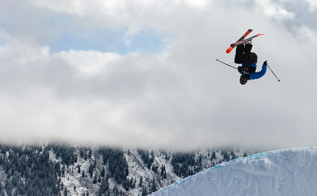 Description of . ASPEN, CO. - JANUARY 27: Nick Goepper got gold in the Ski Slopestyle Men's Final, January 27, 2013. The 2013 Winter X Games at Buttermilk Mountain in Aspen. (Photo By RJ Sangosti / The Denver Post)