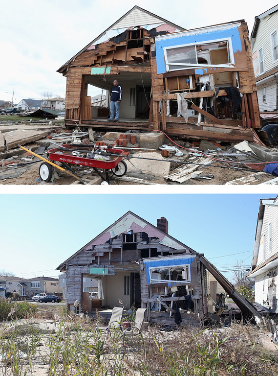 Description of . LINDENHURST, NY - OCTOBER 31: (top) Gary Silberman surveys his home that was destroyed by Hurricane Sandy on October 31, 2012 in Lindenhurst, New York, United States. LINDENHURST, NY - OCTOBER 22: (bottom) A home on Venetian Boulevard sits still damaged by Superstorm Sandy on October 22, 2013 in Lindenhurst, New York. Hurricane Sandy made landfall on October 29, 2012 near Brigantine, New Jersey and affected 24 states from Florida to Maine and cost the country an estimated $65 billion.  (Photos by Bruce Bennett/Getty Images)