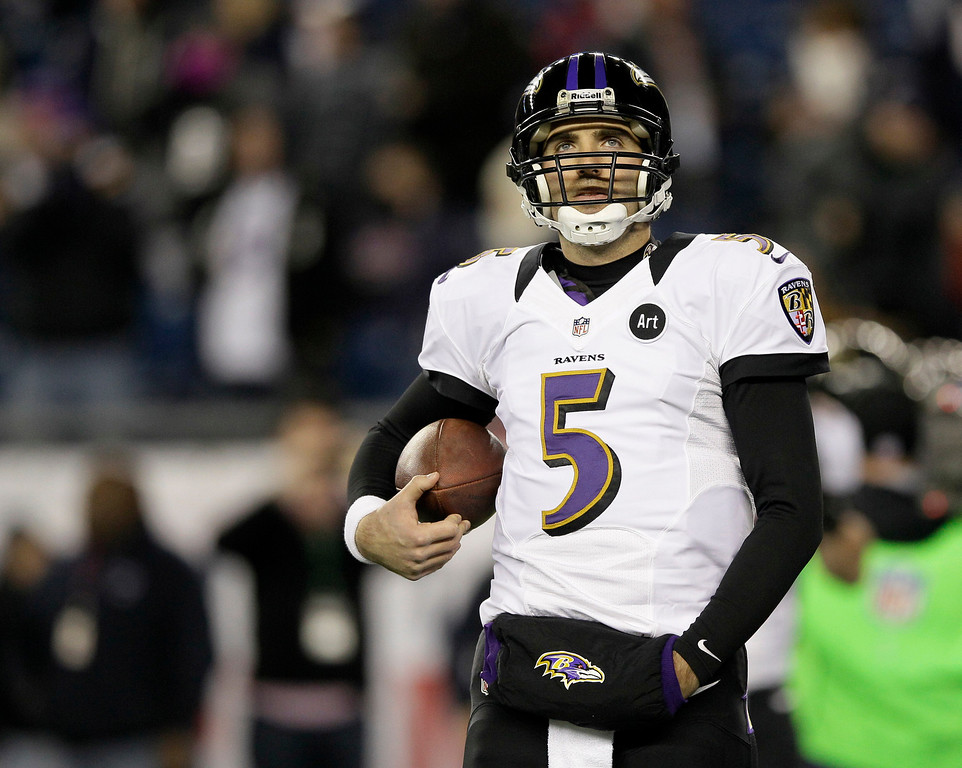 Description of . Baltimore Ravens quarterback Joe Flacco walks on the field before the NFL football AFC Championship football game against the New England Patriots in Foxborough, Mass., Sunday, Jan. 20, 2013. (AP Photo/Matt Slocum)