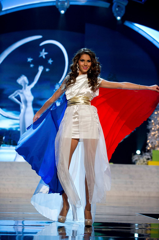 Description of . Miss France Marie Payet performs onstage at the 2012 Miss Universe National Costume Show at PH Live in Las Vegas, Nevada December 14, 2012. The 89 Miss Universe Contestants will compete for the Diamond Nexus Crown on December 19, 2012. REUTERS/Darren Decker/Miss Universe Organization/Handout