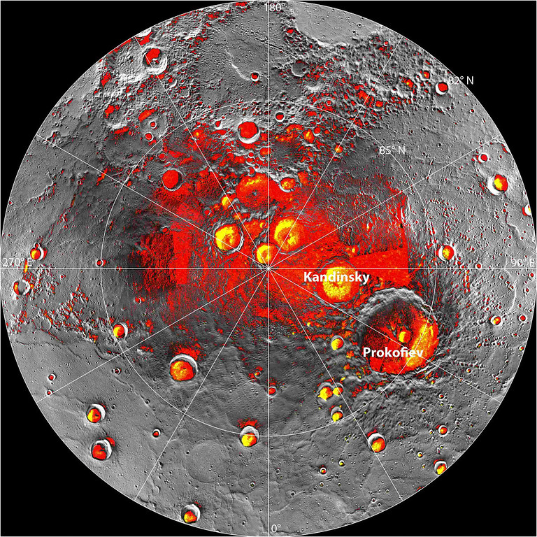Description of . In an undated handout image, a composite image of Mercury's north pole. New findings from the Messenger spacecraft indicate that the Mercury's poles are home to large swaths of frozen water. (NASA/Johns Hopkins University Applied Physics Laboratory/Carnegie Institution of Washington via The New York Times)