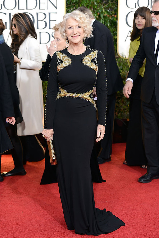 Description of . Actress Helen Mirren arrives at the 70th Annual Golden Globe Awards held at The Beverly Hilton Hotel on January 13, 2013 in Beverly Hills, California.  (Photo by Jason Merritt/Getty Images)