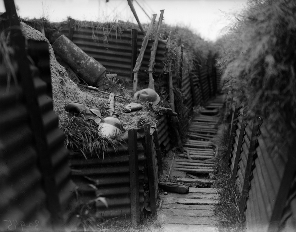 Description of . 7th August 1930:  A deserted trench in Ypres, Belgium, site of three World War I battles.  (Photo by Fox Photos/Getty Images)