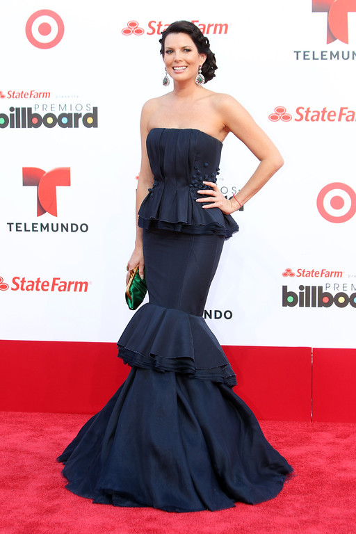 Description of . Colombia actress Maritza Rodriguez arrives at the Latin Billboard Awards in Coral Gables, Fla. Thursday, April 25, 2013. (Photo by Carlo Allegri/Invision/AP)