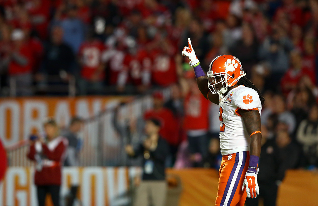 Description of . MIAMI GARDENS, FL - JANUARY 03: Sammy Watkins #2 of the Clemson Tigers reacts to a play in the first quarter against the Ohio State Buckeyes during the Discover Orange Bowl at Sun Life Stadium on January 3, 2014 in Miami Gardens, Florida.  (Photo by Streeter Lecka/Getty Images)