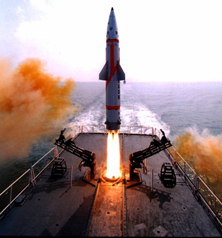 Description of . In this photo provided by the Defence Research & Development Organization, Indian Missile Dhanush takes off from a Naval ship in the Bay of Bengal sea near Chandipur coast, about 200 kilometers from Bhubaneswar, India, Friday, Oct. 5, 2012. India successfully test-fired the indigenously developed nuclear-capable, short-range ballistic missile from a naval ship off its eastern coast, according to a news agency. The missile has a strike range of 350 kilometers and can carry a 500 kilogram conventional or nuclear warhead, the news agency cited a Defense Research & Development Organization official. (AP Photo/Biswaranjan Rout, Defence Research & Development Organization)