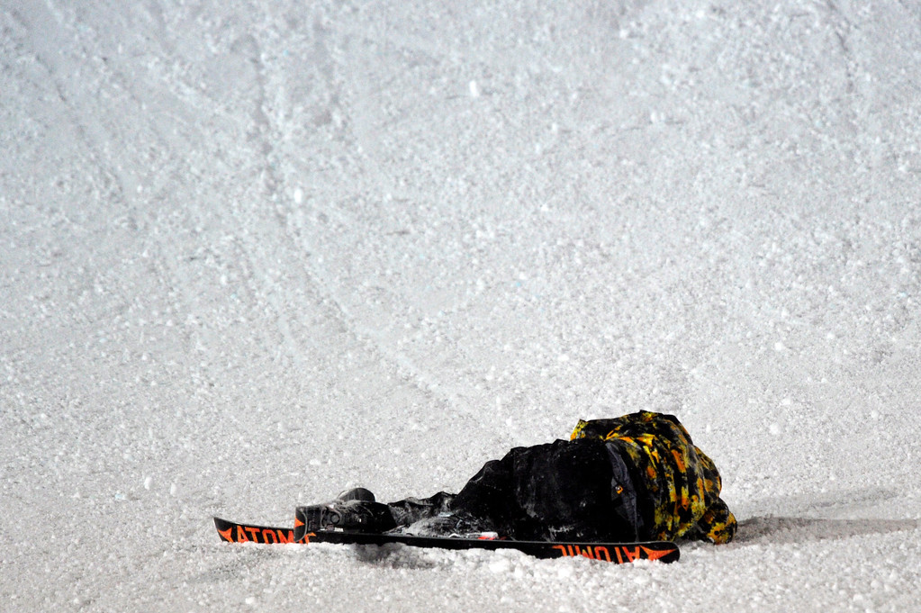Description of . ASPEN, CO - January 26: Gus Kenworthy wipes out during the men's Ski Big Air Final at Winter X Games Aspen 2013 at Buttermilk Mountain on Jan. 26, 2013, in Aspen, Colorado. Kenworthy finished in fifth. (Photo by Daniel Petty/The Denver Post)