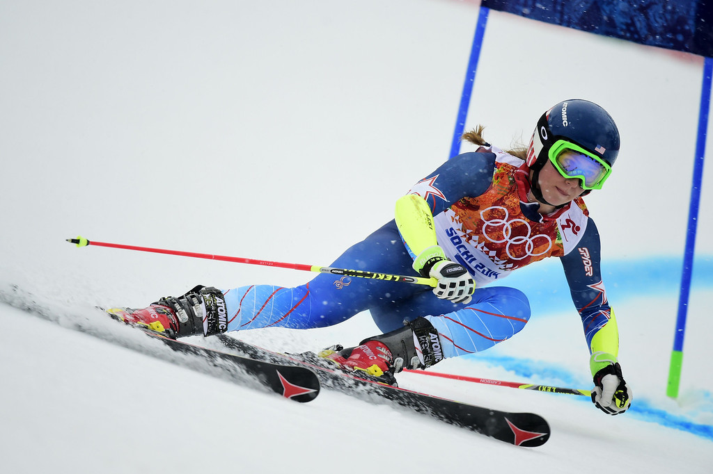Description of . US skier Mikaela Shiffrin competes during the Women's Alpine Skiing Giant Slalom Run 1 at the Rosa Khutor Alpine Center during the Sochi Winter Olympics on February 18, 2014.         AFP PHOTO / FABRICE COFFRINI/AFP/Getty Images