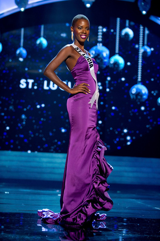Description of . Miss St. Lucia 2012 Tara Edward competes in an evening gown of her choice during the Evening Gown Competition of the 2012 Miss Universe Presentation Show in Las Vegas, Nevada, December 13, 2012. The Miss Universe 2012 pageant will be held on December 19 at the Planet Hollywood Resort and Casino in Las Vegas. REUTERS/Darren Decker/Miss Universe Organization L.P/Handout
