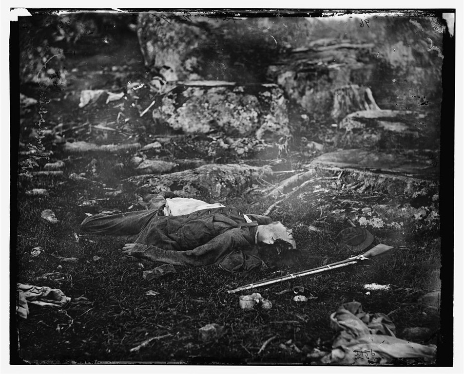Description of . Gettysburg, Pennsylvania. Dead Confederate sharpshooter in