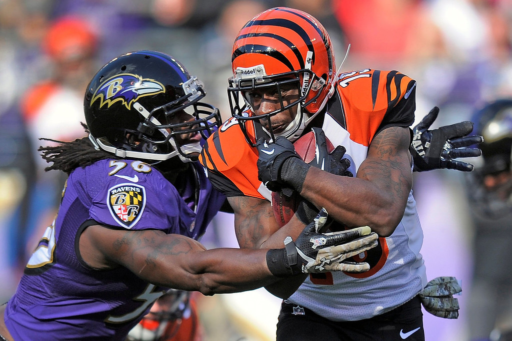 Description of . Baltimore Ravens inside linebacker Josh Bynes wraps up Cincinnati Bengals wide receiver Brandon Tate during the first half of a NFL football game in Baltimore, Sunday, Nov. 10, 2013. (AP Photo/Nick Wass)