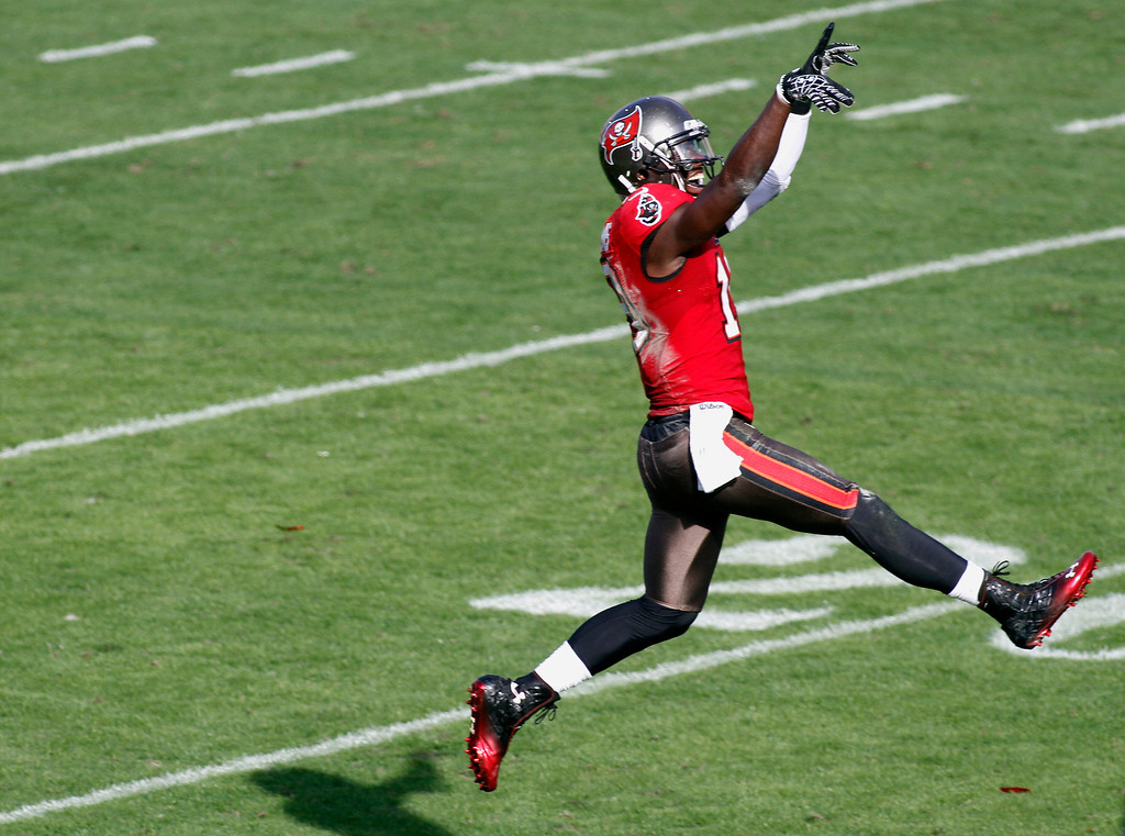 Description of . Tampa Bay Buccaneers wide receiver Mike Williams (19) celebrates after his third quarter touchdown against the Philadelphia Eagles during  NFL football game Sunday, Dec. 9, 2012, in Tampa, Fla. (AP Photo/Reinhold Matay)