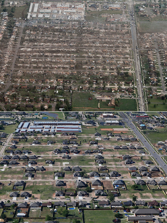 Description of . This combination of aerial photos shows the damage to homes and businesses on May 21, 2013, the day after a massive tornado hit Moore, Okla., top, and the same neighborhood under reconstruction on May 15, 2014, bottom. (AP Photo)