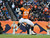 Denver Broncos linebacker Keith Brooking celebrates his sack of Kansas City quarterback Brady Quinn in the third quarter Sunday at Sports Authority Field. Steve Nehf, The Denver Post