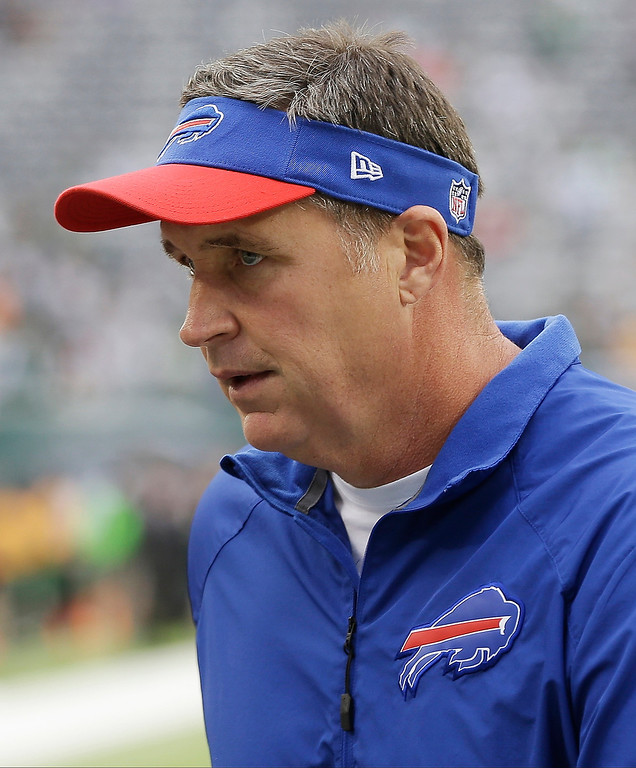 Description of . Buffalo Bills head coach Doug Marrone walks on the field before an NFL football game against the New York Jets Sunday, Sept. 22, 2013, in East Rutherford, N.J. (AP Photo/Seth Wenig)