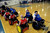 DENVER, CO. - FEBRUARY 10: The Denver Harlequins and the Northridge Knights shakes hands after their game during the Wheelchair Rugby Tournament February 10, 2013 at Englewood High School.  The Mile High Mayhem was put on by Craig Hospital and city of Englewood.(Photo By John Leyba/The Denver Post)