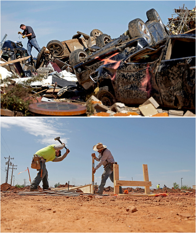 Description of . In this photo combination, Farmers Insurance worker Paul Gaipo looks through tornado-damaged cars to determine which company insured the vehicles at a destroyed strip mall on May 22, 2013, in Moore, Okla., top, and workers prepare footings for a new business building near the site on May 8, 2014, bottom. (AP Photo/Charlie Riedel)