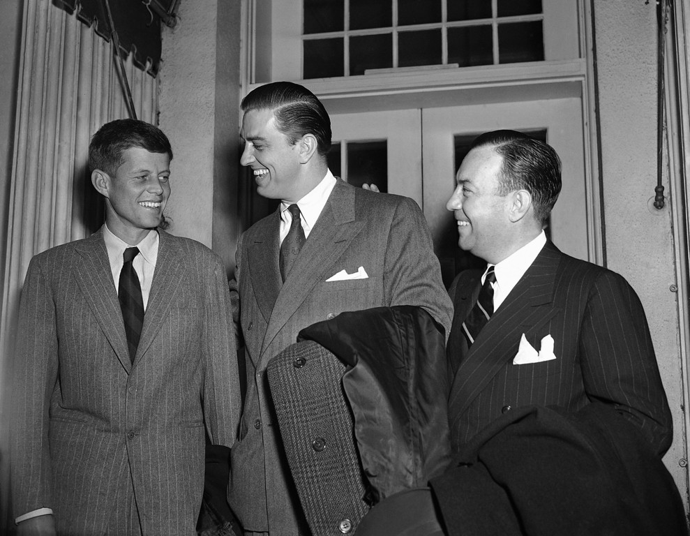 Description of . Members of a delegation representing five veterans groups leave the White House on Jan. 8, 1948, after inviting President Harry Truman to address a meeting in March. From left: Rep. John F. Kennedy, D-Mass; Franklin D. Roosevelt, Jr., and Robert F. Wagner, Jr., son of the New York democratic senator. The groups sought congressional passage of long-range housing legislation. Associated Press file