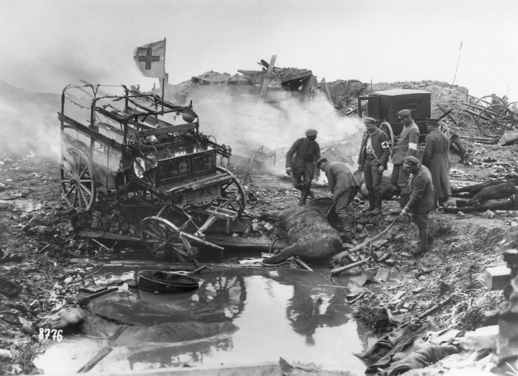 Description of . Today marks the centenary of the outbreak of World War I, when Austria-Hungary declared war on Serbia, beginning a conflict that would claim over 16 million lives. Horse-drawn German ambulances suffer bomb damage, during World War I.   (Photo by Hulton Archive/Getty Images)