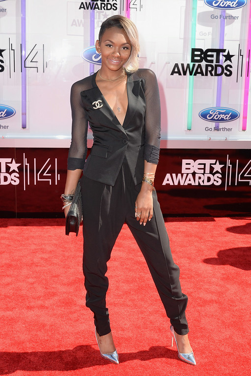 Description of . Elisa Johnson attends the BET AWARDS '14 at Nokia Theatre L.A. LIVE on June 29, 2014 in Los Angeles, California.  (Photo by Earl Gibson III/Getty Images for BET)