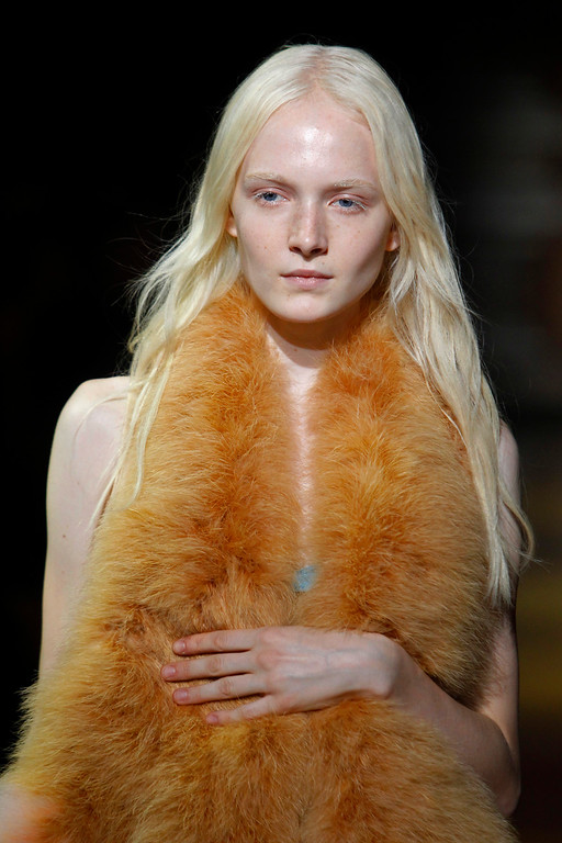 Description of . A model presents a creation as part of Sonia Rykiel's ready-to-wear Spring/Summer 2014 fashion collection, presented Friday, Sept. 27, 2013 in Paris. (AP Photo/Thibault Camus)