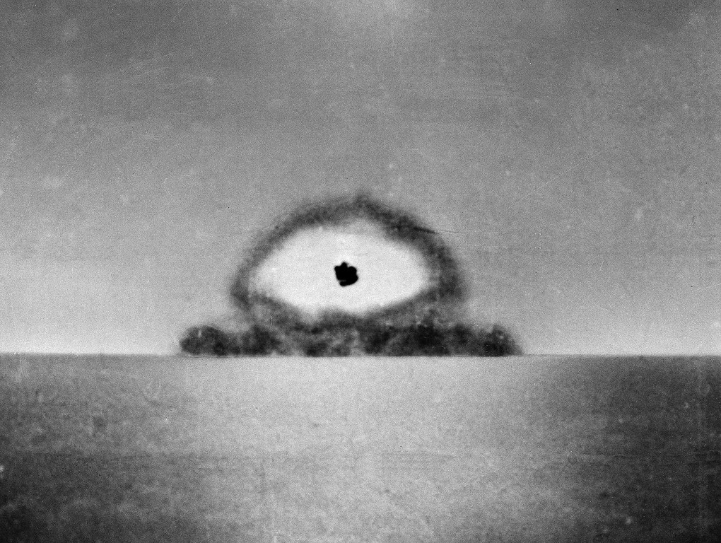 Description of . This photo made by a U.S. Army automatic newsreel camera, shows the test explosion of the world's first atomic bomb at Alamagordo, N.M., on July 16, 1945. The test, known as Trinity, of the plutonium bomb capped a $2 billion effort, unprecedented in those times. (AP Photo)