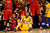 Denver Nuggets center JaVale McGee (34) sits on the ground after fouling Los Angeles Clippers power forward Blake Griffin (32) during the first half at the Pepsi Center on Tuesday, January 1, 2013. AAron Ontiveroz, The Denver Post