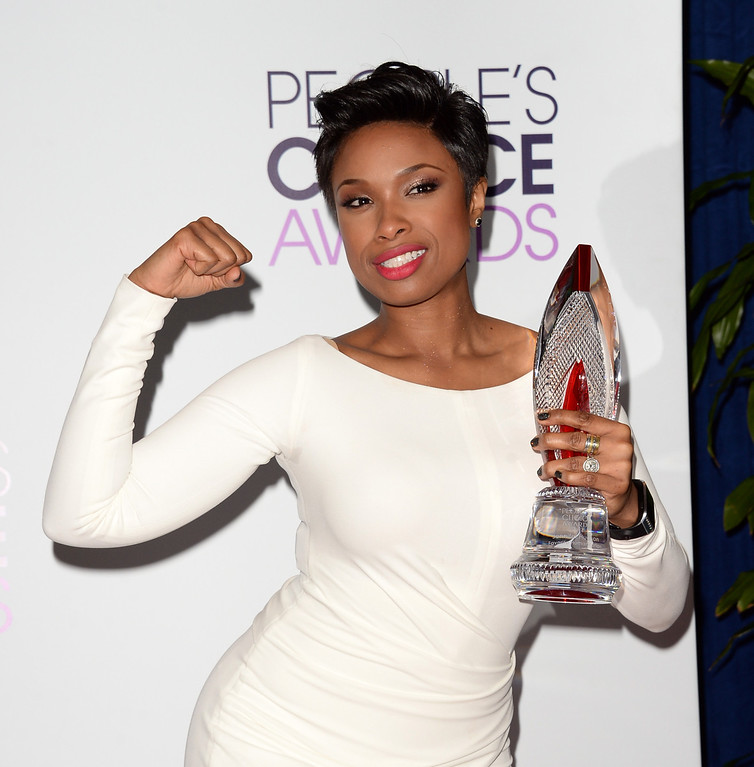 Description of . LOS ANGELES, CA - JANUARY 08:  Actress-singer Jennifer Hudson, winner of the Favorite Humanitarian award, poses in the press room at The 40th Annual People's Choice Awards at Nokia Theatre L.A. Live on January 8, 2014 in Los Angeles, California.  (Photo by Jason Merritt/Getty Images)