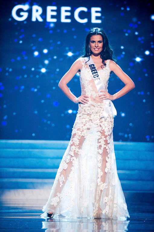 Description of . Miss Greece 2012 Vasiliki Tsirogianni competes in an evening gown of her choice during the Evening Gown Competition of the 2012 Miss Universe Presentation Show in Las Vegas, Nevada, December 13, 2012. The Miss Universe 2012 pageant will be held on December 19 at the Planet Hollywood Resort and Casino in Las Vegas. REUTERS/Darren Decker/Miss Universe Organization L.P/Handout