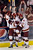 Denver wing Larkin Jacobson, left,  celebrated the tie-breaking goal in the third period with line mates Quentin Shore and Matt Tabrum. It was Jacobson's first college goal. The University of Denver hockey team defeated Cornell 2-1 at Magness Arena Saturday night, January 5, 2013. Karl Gehring/The Denver Post