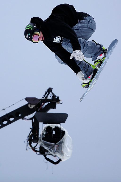 Description of . ASPEN, CO. - JANUARY 24: Aleksander Oestreng hits a jump during the men's Snowboard Slopestyle elimination. Men's Snowboard Slopestyle elimination X Games Aspen Buttermilk Mountain Aspen January 24, 2013. (Photo By AAron Ontiveroz / The Denver Post)