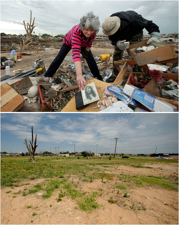 Description of . In this photo combination, Lea Bessinger, left, salvages a depiction of Jesus as she and her son, Josh Bessinger, sort through the rubble of her tornado-ravaged home in Moore, Okla., May 21, 2013, top. A vacant lot is all that remains on the site on May 7, 2014, bottom. (AP Photo/Charlie Riedel)
