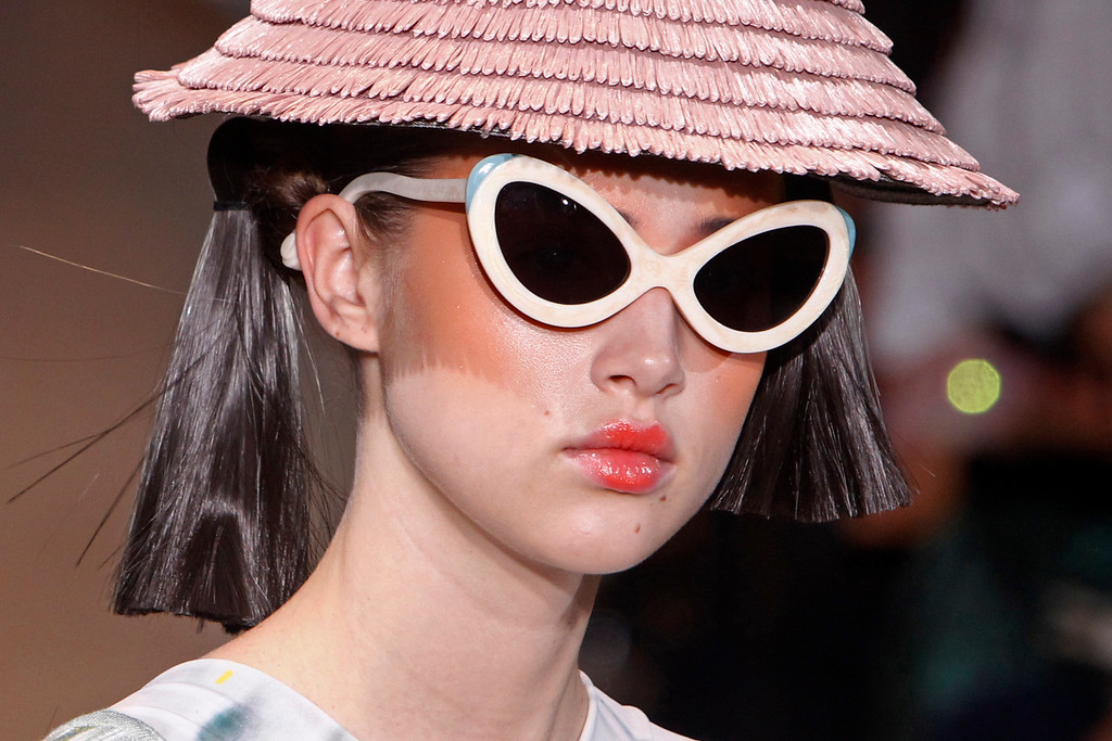 Description of . A model presents a creation as part of Tsumori Chisato's ready-to-wear Spring/Summer 2014 fashion collection, presented Saturday, Sept. 28, 2013 in Paris. (AP Photo/Thibault Camus)