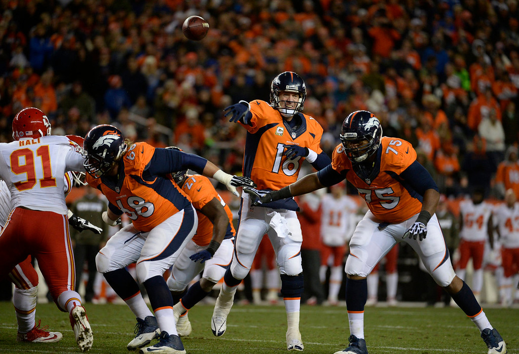 Description of . Denver Broncos quarterback Peyton Manning (18) makes a pass in the first quarter. The Denver Broncos take on the Kansas City Chiefs at Sports Authority Field at Mile High in Denver on November 17, 2013. (Photo by Tim Rasmussen/The Denver Post)