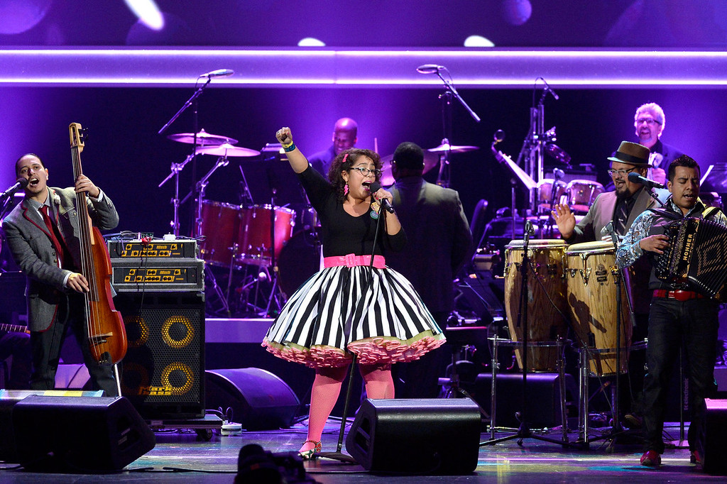 Description of . Singer La Marisoul of La Santa Cecilia performs onstage during the 56th GRAMMY Awards Pre-Telecast Show at Nokia Theatre L.A. Live on January 26, 2014 in Los Angeles, California.  (Photo by Kevork Djansezian/Getty Images)