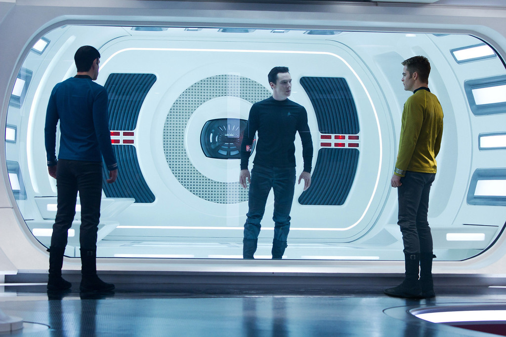 "Description of . This  publicity film image released by Paramount Pictures shows, from left, Zachary Quinto, as Spock, Benedict Cumberbatch as John Harrison, and Chris Pine as Kirk, in a scene in the film, ""Star Trek Into Darkness,\"" from Paramount Pictures and Skydance Productions. \""Star Trek Into Darkness\"" was one of several upcoming films to receive spotlight treatment with an ad that aired during Super Bowl XLVII on Sunday, Feb. 3, 2013. (AP Photo/Paramount Pictures, Zade Rosenthal, File)"