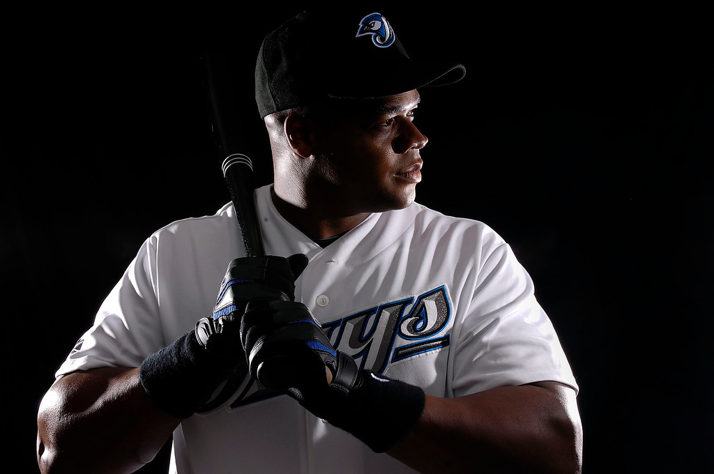 Description of . Infielder Frank Thomas #35 of the Toronto Blue Jays poses for a photo on media day during spring training at the Bobboy Mattix Traing Center February 22, 2008 in Dunedin, Florida.  (Photo by Marc Serota/Getty Images)