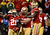 Running back Frank Gore #21 of the San Francisco 49ers celebrates with his teammates after scoring a touchdown in the fourth quarter against the Green Bay Packers during the NFC Divisional Playoff Game at Candlestick Park on January 12, 2013 in San Francisco, California.  (Photo by Harry How/Getty Images)