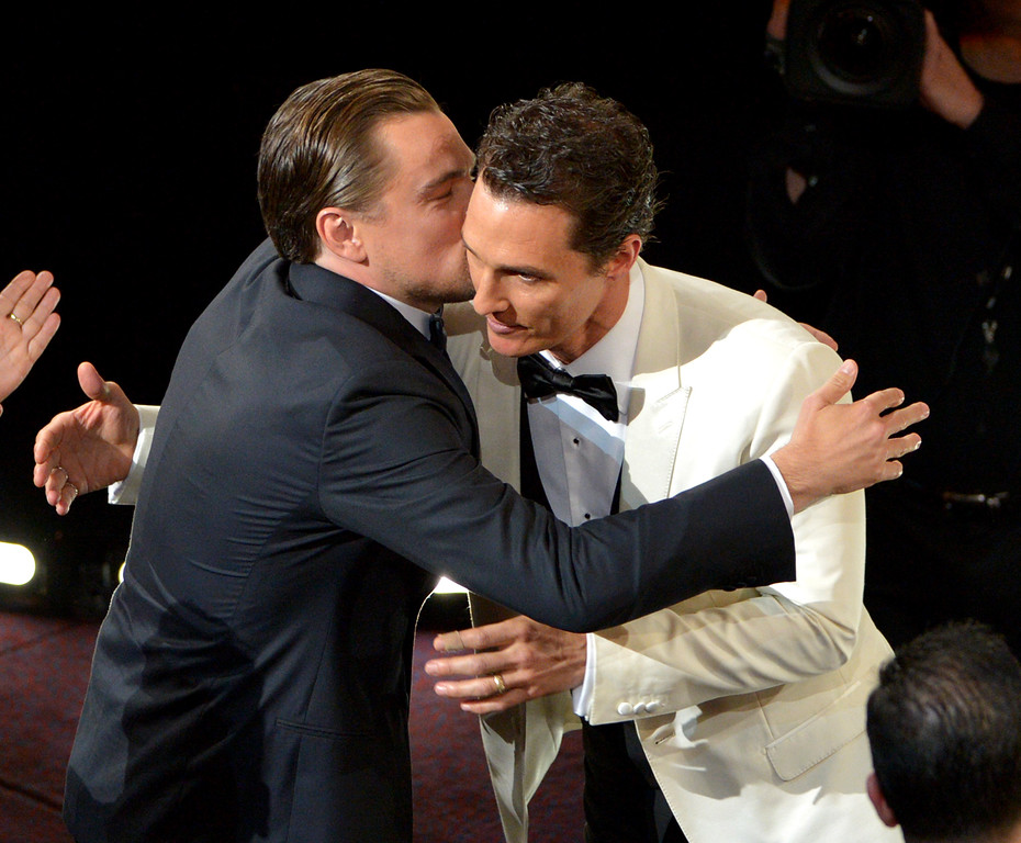 Description of . Leonardo DiCaprio, left, congratulates Matthew McConaughey for winning the award for best actor in a leading role for