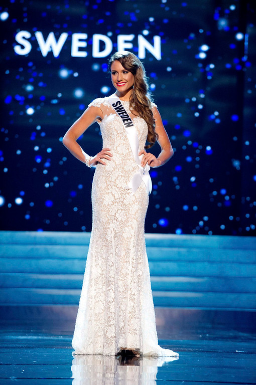 Description of . Miss Sweden 2012 Hanni Beronius competes in an evening gown of her choice during the Evening Gown Competition of the 2012 Miss Universe Presentation Show in Las Vegas, Nevada, December 13, 2012. The Miss Universe 2012 pageant will be held on December 19 at the Planet Hollywood Resort and Casino in Las Vegas. REUTERS/Darren Decker/Miss Universe Organization L.P/Handout