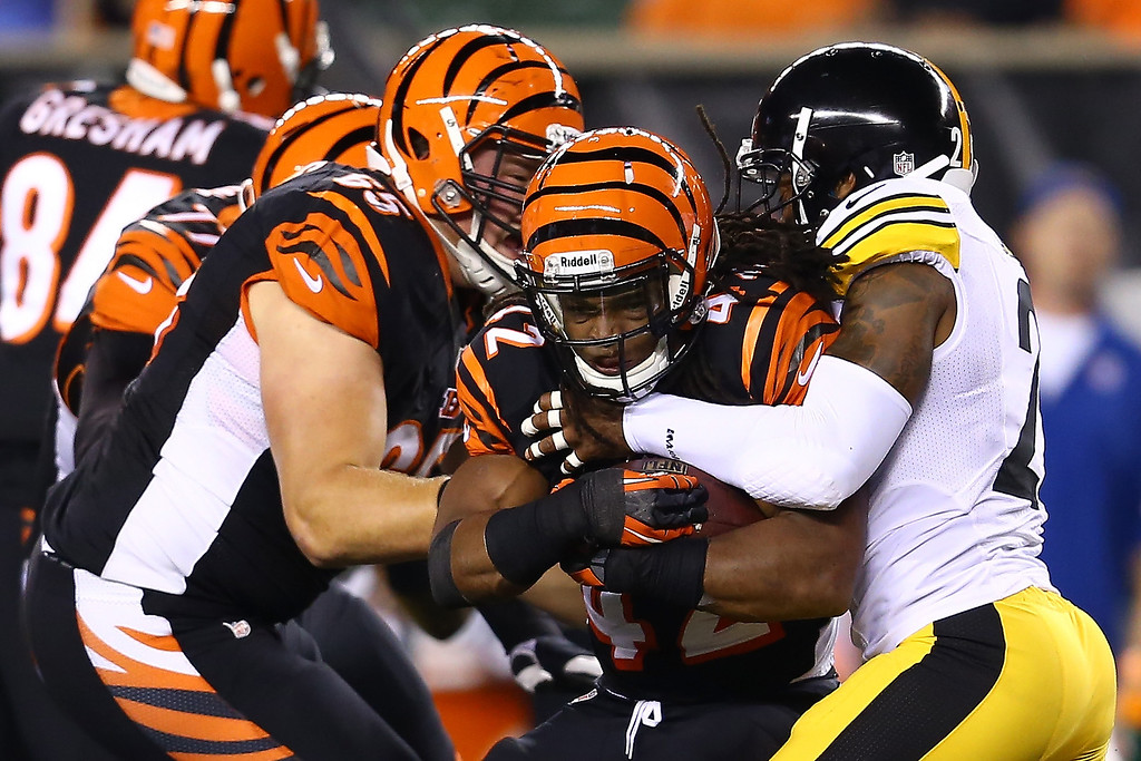 Description of . Running back BenJarvus Green-Ellis #42 of the Cincinnati Bengals runs the ball against the Pittsburgh Steelers in the second quarter at Paul Brown Stadium on September 16, 2013 in Cincinnati, Ohio.  (Photo by Andy Lyons/Getty Images)