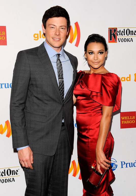 Description of . Event co-hosts Cory Monteith and Naya Rivera from the cast of