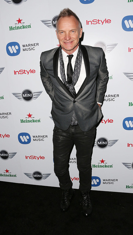 Description of . Recording artist Sting attends Warner Music Group's 2013 Grammy Celebration at Chateau Marmont's Bar Marmont on February 10, 2013 in Hollywood, California.  (Photo by Frederick M. Brown/Getty Images)