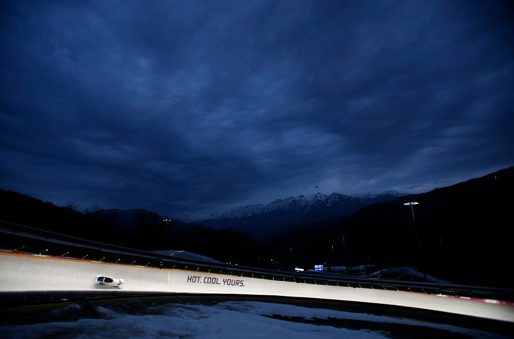 Description of . Heat 3 of the Two-man Bobsleigh at the Sliding Center Sanki for the 2014 Winter Olympics in Krasnaya Polyana, Russia on Monday, Feb. 17, 2014.  (Nhat V. Meyer/Bay Area News Group)