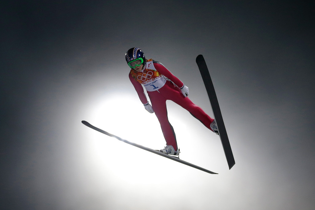 Description of . Sarah Hendrickson of the United States during the Ladies\' Normal Hill Individual trial on day 4 of the Sochi 2014 Winter Olympics at the RusSki Gorki Ski Jumping Center on February 11, 2014 in Sochi, Russia.  (Photo by Ezra Shaw/Getty Images)