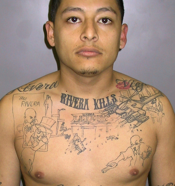 . In this undated photo released by the L.A. County Sheriff\'s Dept. Anthony Garcia is shown. Garcia, 22, was convicted Wednesday, April 20, 2011, of first-degree murder and shooting at an occupied vehicle. Garcia a Southern California gang member who had a murder storyboard tattooed on his chest was convicted for killing a gang rival. The tattoo detailed the shooting of 23-year-old John Juarez in Pico Rivera on Jan. 23, 2004. (Los Angeles County Sheriff\'s Department)