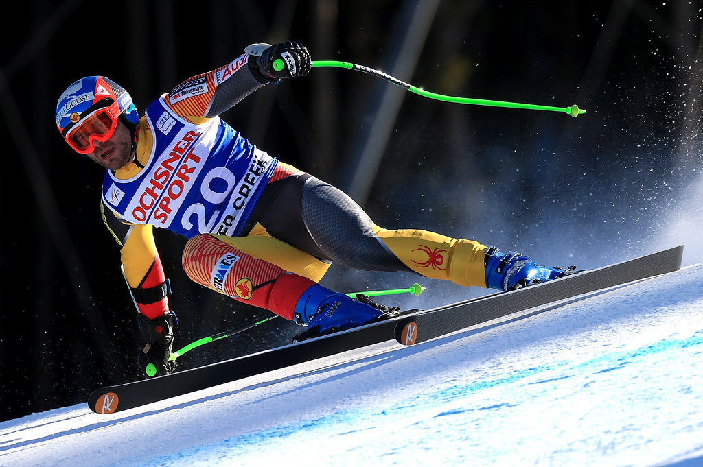 Description of . Jan Hudec of Canada skis to 10th place in the men's Super G on the Birds of Prey at the Audi FIS World Cup on December 1, 2012 in Beaver Creek, Colorado.  (Photo by Doug Pensinger/Getty Images)