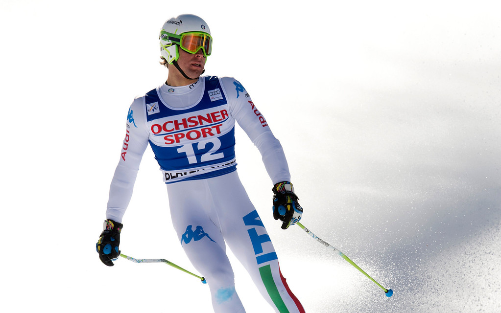 Description of . Matteo Marsaglia of Italy crosses the finish line in first place in the FIS Alpine World Cup men\'s Super G on December 1, 2012 in Beaver Creek, Colorado.    DON EMMERT/AFP/Getty Images